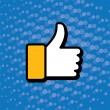 Pop art thumbs up & like hand symbol used in social media - vect — Stock Vector #67025593