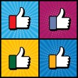 Pop art thumbs up & like hand symbol used in social media - vect — Stock Vector #67025601