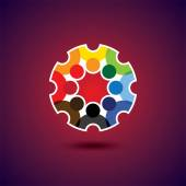 Colorful design of a team of people or children icons — Stok Vektör