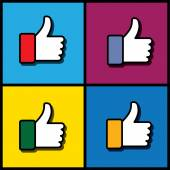 Concept vector graphic - social media like hand icons set — Stock Vector