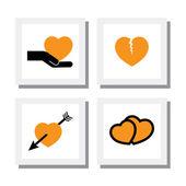 Set of designs heart and love, divorce & break up - vector icons — Vector de stock
