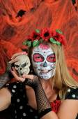 Halloween make up mexican mask — Stock Photo
