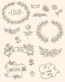 Romantic doodle elements — Vecteur
