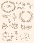 Romantic doodle elements — Stok Vektör
