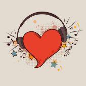 Red heart and headphones — Stock Vector