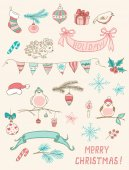 Christmas doodle desing elements — Vettoriale Stock