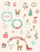 Christmas doodle desing elements — Vector de stock