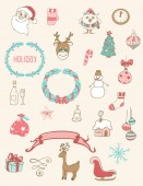 Christmas doodle desing elements — Stockvektor