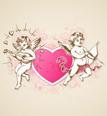 Pink heart and Cupids — Vettoriale Stock
