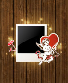 Photo and Cupid for Valentine's day — 图库矢量图片