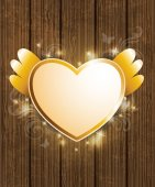 Golden heart for Valentine's Day — Stock Vector