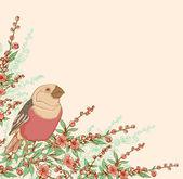 Bird and flowering branch — Stock Vector