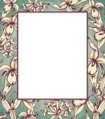 Hand drawn floral frame with orchids — Stock Vector