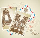 Vintage photos of Paris — Stock Vector