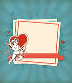 Green background with Cupid — Stock vektor