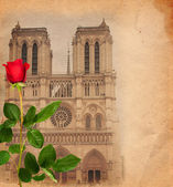 Vintage background with Notre Dame — Stock Photo
