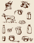 Vintage dairy products and cow — Stock Vector