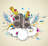 Music speakers and cloud — Stock Vector