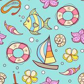 Summer marine seamles pattern — Stock Vector