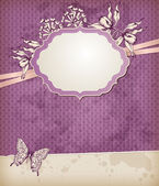 Vintage background with label and flowers — Stock Vector