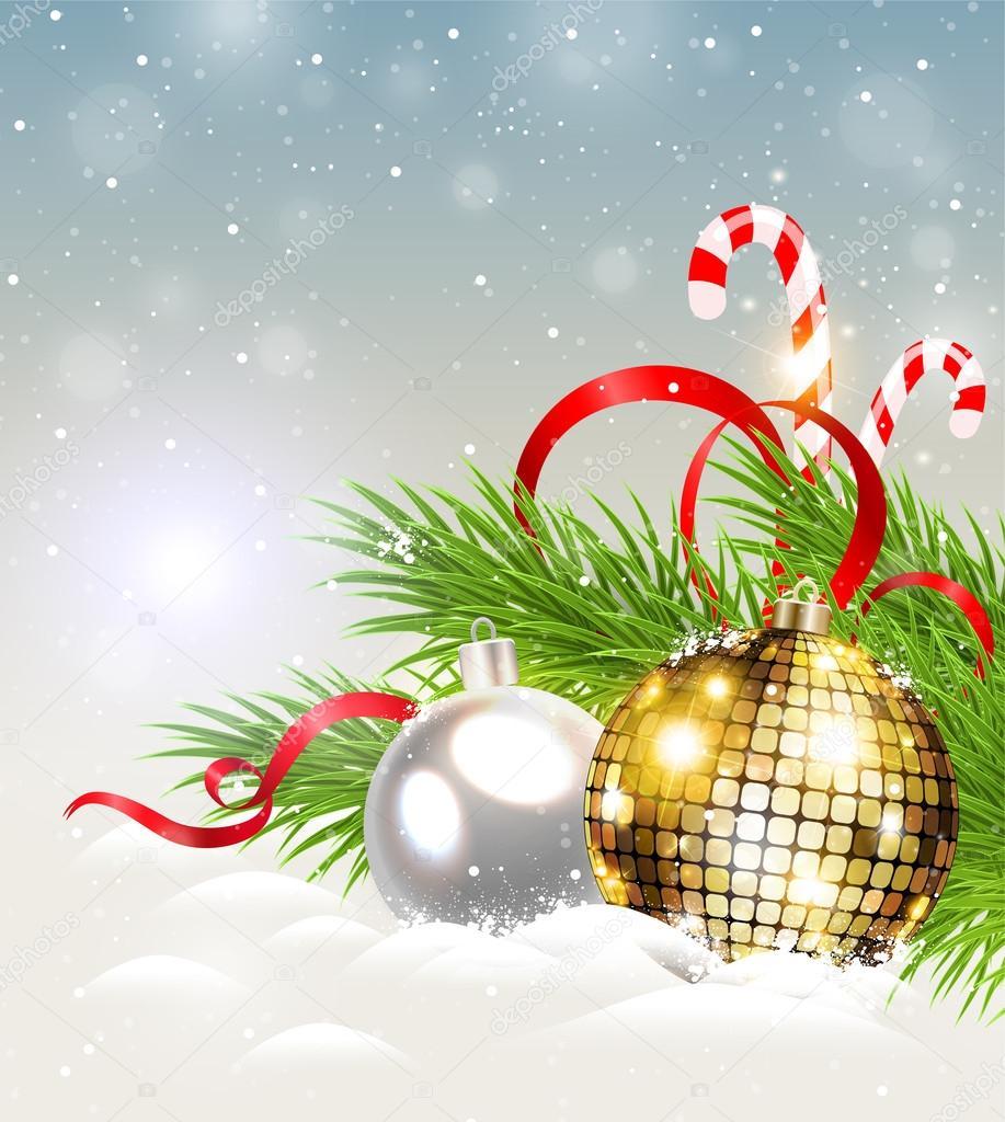 圣诞节背景闪光金色的装饰和糖果手杖– 图库插图
