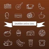 Breakfast outline icons — Stock Vector
