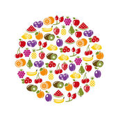 Fruit icons in circle — Stock Vector