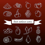 Fruit outline icons — Stock Vector