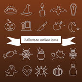 Halloween outline icons — Stock Vector