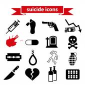Suicide icons — Stockvector