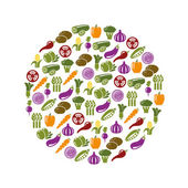 Vegetable icons in circle — Stock Vector