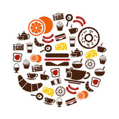 Breakfast icons in circle — Stock Vector