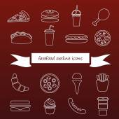 Fast food outline icons — Stock Vector