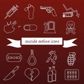 Suicide outline icons — Stockvector