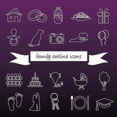 Family outline icons — Stock Vector