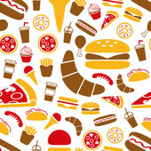 Fast food seamless pattern — Stock Vector