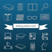 Reading outline icons — Stock Vector