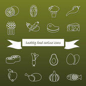 Healthy food outline icons — Stock Vector