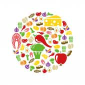 Healthy food icons in circle — Stock Vector