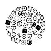 Time icons in circle — Stock Vector