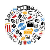 Movie icons in circle — Stock Vector