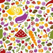 Fruits and vegetable seamless pattern — Stock Vector