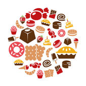 Sweets icons in circle — Stock Vector