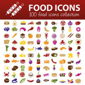 Hundred food icons — Stock Vector