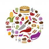 Barbecue icons in circle — Stock Vector