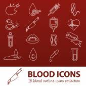 Blood outline icons — Stock Vector