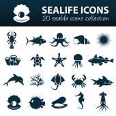 Sealife icons — Stock Vector