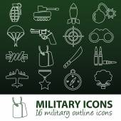 Military outline icons — Stock vektor