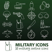 Military outline icons — 图库矢量图片