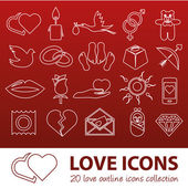 Love outline icons — Stock Vector